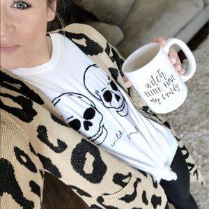 Sweaters - Leopard Print Open Front Cardigan